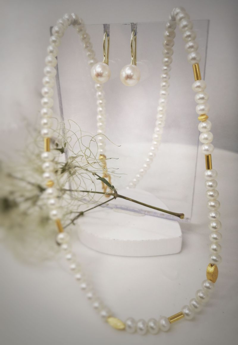 Morgengabe Perlenkette mit Perlenohrstecker